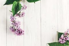你好春天舱内甲板位置图象 在土气w的美丽的淡紫色花 免版税图库摄影