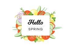 你好春天 与在白色背景隔绝的菜的食物横幅 库存图片