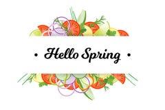 你好春天 与在白色背景隔绝的菜的食物横幅 免版税图库摄影