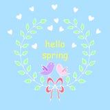 你好春天贺卡 与花的手拉的例证 免版税库存图片