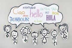你好用不同的国际全球性外语Bonjour Ciao Hola 图库摄影