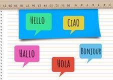 你好用不同的语言聊天学会与笔记本的泡影 图库摄影