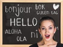 你好用不同的语言 免版税库存图片