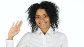 你好由黑人妇女,挥动的手的姿态 影视素材