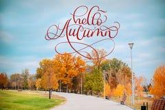 你好秋天书法在公园胡同秋天风景的字法在绿草的文本有灌木的和树 免版税库存照片