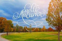 你好秋天书法在美丽的秋天胡同的字法文本在有五颜六色的树的公园 免版税库存照片