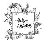 你好秋天传染媒介框架 手拉的葡萄酒模板设计 免版税库存图片