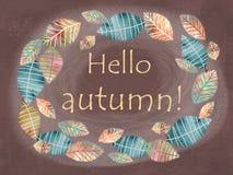 你好秋天卡片 手拉的不同的色的秋叶 库存例证
