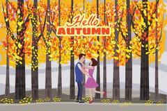 你好秋天彩色插图 愉快的夫妇会议和走在公园明信片设计 露天室外步行 及早 向量例证