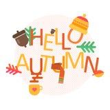你好秋天概念与秋天象的传染媒介背景 免版税图库摄影