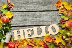 你好秋天红色,绿色和黄色叶子、橡子和苹果平的位置框架在葡萄酒木背景 库存照片
