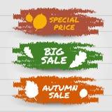 你好秋天销售,大销售,特别促进汇集横幅 红色,黄色和橙色刷子冲程飞溅标签 传染媒介illus 免版税库存照片
