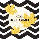 你好秋天 与季节性槭树叶子的贺卡 免版税库存图片