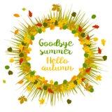 你好秋天 再见夏天 向量例证