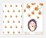 你好秋天 在逗人喜爱的时髦的启发卡片 免版税库存图片