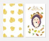你好秋天 在逗人喜爱的样式的时髦的启发卡片与动画片猬 印刷品设计的模板 库存照片