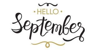 你好,字法9月-印刷术,手 库存照片