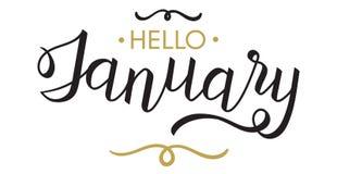 你好,字法1月-印刷术,手 库存图片