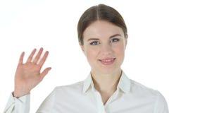你好,挥动的手,白色背景 股票视频
