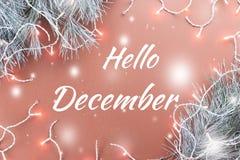 你好12月与杉树的贺卡和圣诞灯在背景中 库存照片