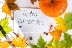 你好11月卡片,秋天构成 免版税库存照片