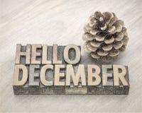 你好12月在木类型的词摘要 免版税库存图片