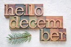你好12月在木类型的词摘要 免版税库存照片