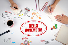 你好11月邮票 会议在白色办公室桌上 免版税图库摄影