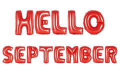 你好9月,红颜色 图库摄影