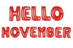 你好11月,红颜色 图库摄影