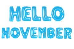 你好11月,蓝色颜色 免版税图库摄影