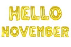 你好11月,金子颜色 库存图片