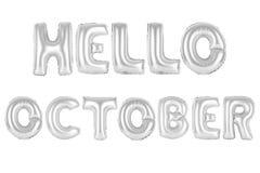 你好10月,镀铬灰色颜色 免版税库存图片