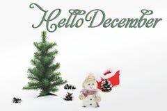 你好12月 新年好 中看不中用的物品蓝色圣诞节构成玻璃 免版税库存图片