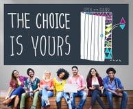 你的偶然发生选择决定采撷概念的选择 免版税库存照片