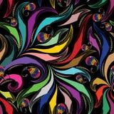佩兹利五颜六色的无缝的样式 传染媒介花卉明亮的backgrou 向量例证