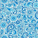 Swirly无刺指甲花佩兹利花卉无缝的样式Vecto 免版税库存图片