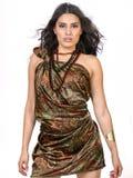 佩兹利礼服的美丽的年轻深色的女性 免版税库存图片