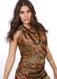佩兹利礼服的美丽的年轻深色的女性 免版税图库摄影