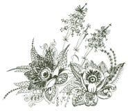 佩兹利花卉设计 免版税图库摄影