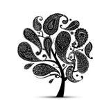 佩兹利装饰品,艺术树,您的设计的剪影 库存照片