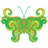 佩兹利蝴蝶。 手拉的华丽例证 免版税库存图片
