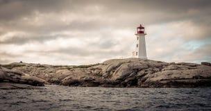 佩吉的小海湾灯塔在新斯科舍,加拿大 免版税库存照片