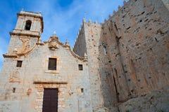佩尼伊斯科拉virgen de圣玛丽亚教会门面Castellon 免版税库存照片