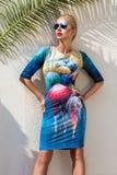 佩带一个礼服和高跟鞋和太阳镜立场在amazi的美丽的现象惊人的典雅的豪华性感的白肤金发的式样妇女 免版税库存照片