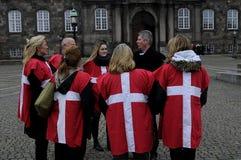 佩带丹麦旗子的小组 库存图片