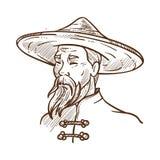 佩带传统衣裳单色剪影传染媒介例证的中国人 库存例证