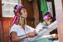 佩带传统金属的未认出的Padaung资深妇女敲响在她的脖子上 库存照片