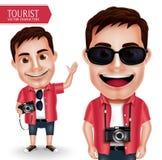 佩带偶然举行的照相机的旅游摄影师人传染媒介字符 库存例证