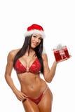 佩带圣诞老人的美丽的性感的女孩穿衣与圣诞节g 库存图片